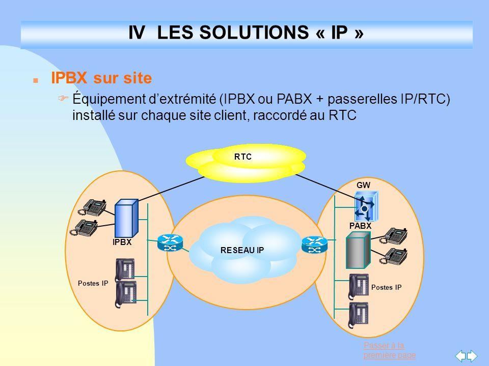 Passer à la première page IV LES SOLUTIONS « IP » n IPBX sur site FÉquipement dextrémité (IPBX ou PABX + passerelles IP/RTC) installé sur chaque site