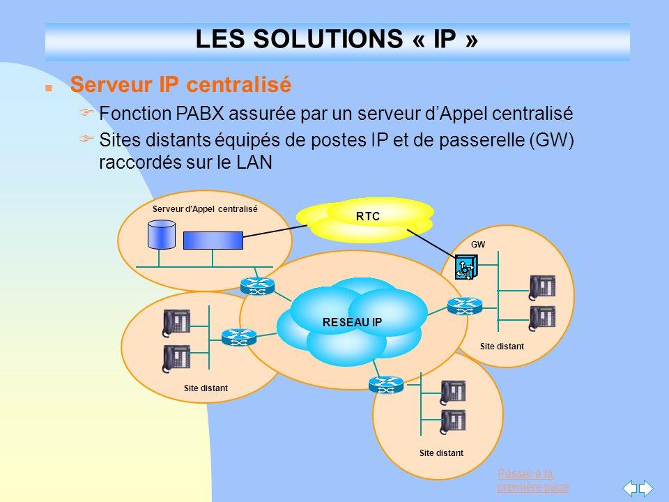 Passer à la première page n Serveur IP centralisé FFonction PABX assurée par un serveur dAppel centralisé FSites distants équipés de postes IP et de p