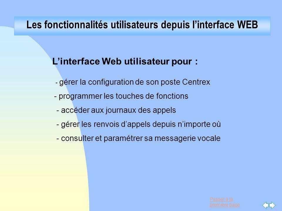 Passer à la première page Les fonctionnalités utilisateurs depuis linterface WEB Linterface Web utilisateur pour : - gérer la configuration de son pos