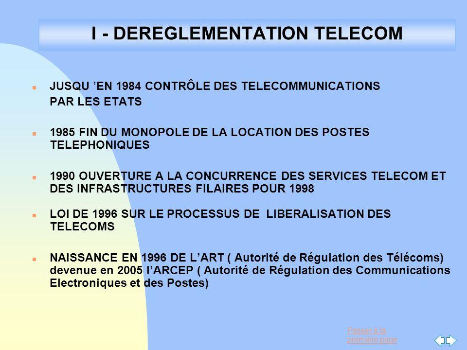 Passer à la première page I - DEREGLEMENTATION TELECOM n JUSQU EN 1984 CONTRÔLE DES TELECOMMUNICATIONS PAR LES ETATS n 1985 FIN DU MONOPOLE DE LA LOCA