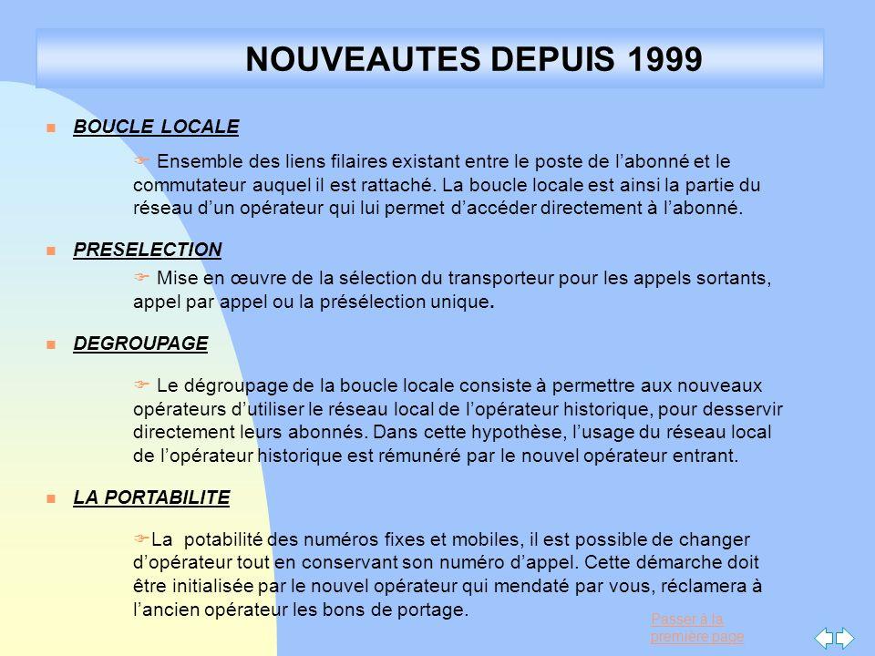 Passer à la première page NOUVEAUTES DEPUIS 1999 n BOUCLE LOCALE F Ensemble des liens filaires existant entre le poste de labonné et le commutateur au