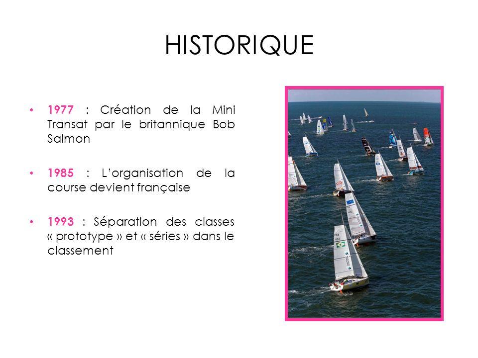 HISTORIQUE 1977 : Création de la Mini Transat par le britannique Bob Salmon 1985 : Lorganisation de la course devient française 1993 : Séparation des