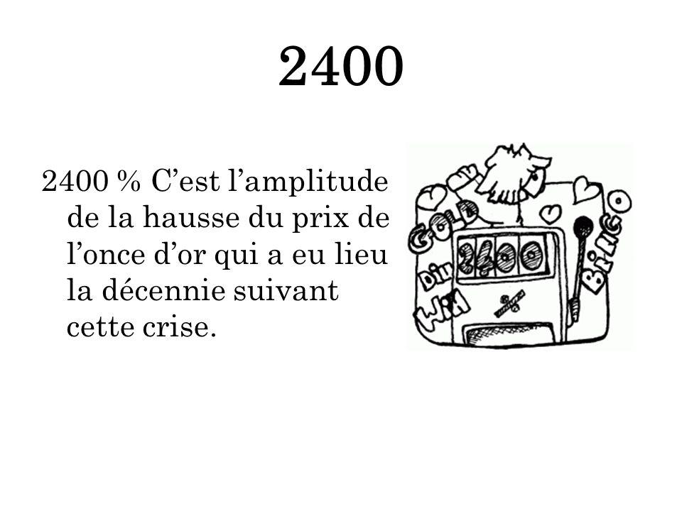 2400 2400 % Cest lamplitude de la hausse du prix de lonce dor qui a eu lieu la décennie suivant cette crise.