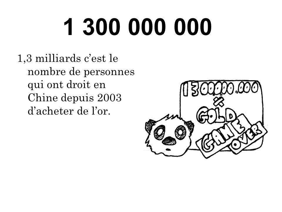 1 300 000 000 1,3 milliards cest le nombre de personnes qui ont droit en Chine depuis 2003 dacheter de lor.