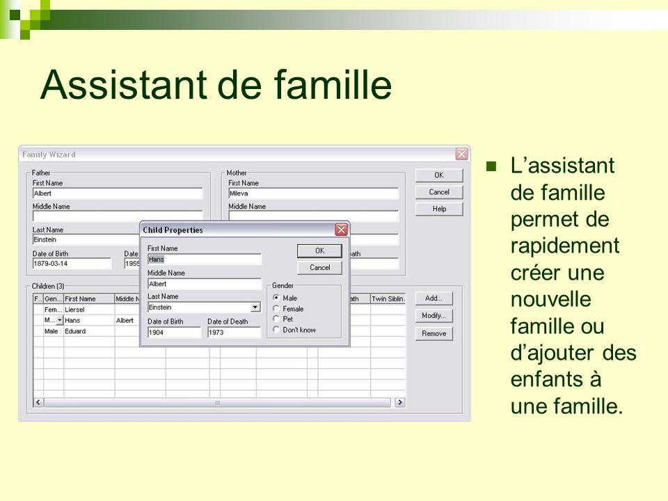 Champs de données Les champs de données incluent la naissance, le décès, léducation, les emplois, les coordonnées, les photos, les sources et un nombre illimité de descripteurs personnalisés configurés par lutilisateur.