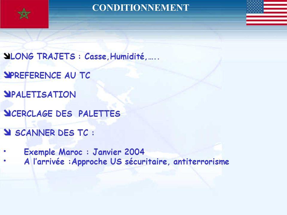 LONG TRAJETS : Casse,Humidité,….. PREFERENCE AU TC PALETISATION CERCLAGE DES PALETTES SCANNER DES TC : Exemple Maroc : Janvier 2004 A larrivée :Approc