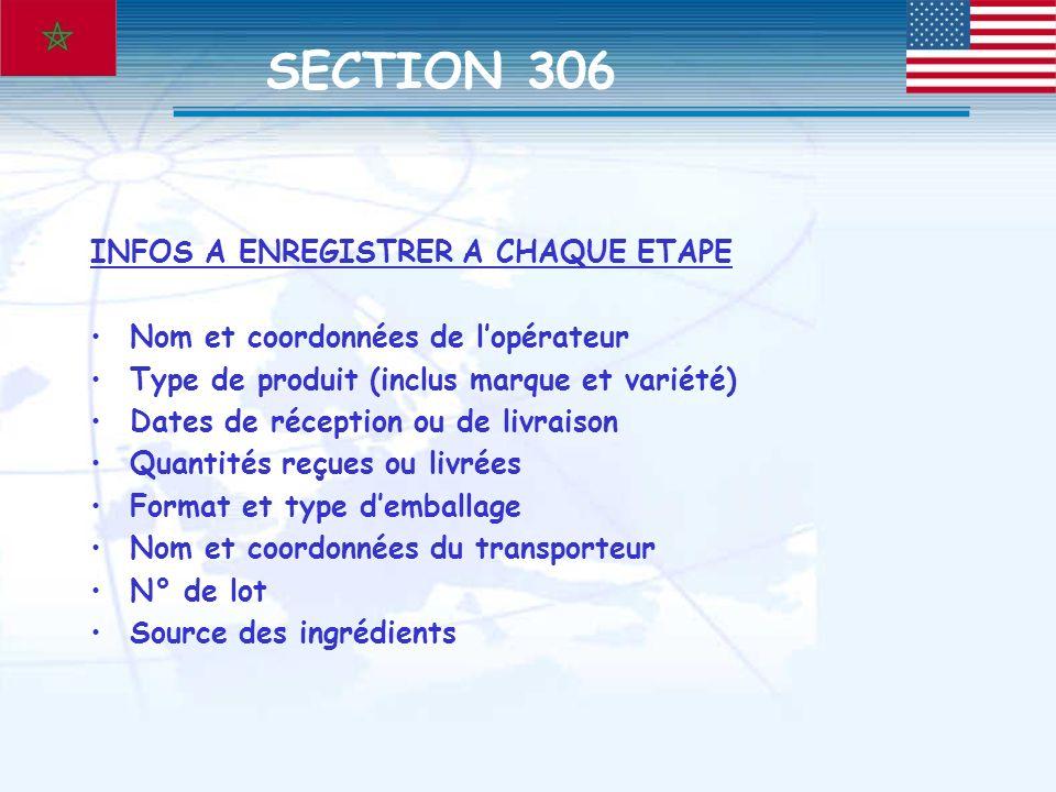 INFOS A ENREGISTRER A CHAQUE ETAPE Nom et coordonnées de lopérateur Type de produit (inclus marque et variété) Dates de réception ou de livraison Quan