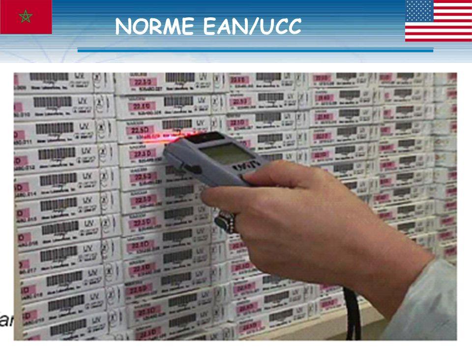 OUTILS EAN/UCC Identification des sites/opérateurs: GLN( Global Location Number) Identification des produits : GTIN ( Global Trade Item Number ) peut avoir 8,12,13, ou 14 chiffres Identification des unités logistiques : SSCC ( Serial Shipping Container Code ) NORME EAN/UCC