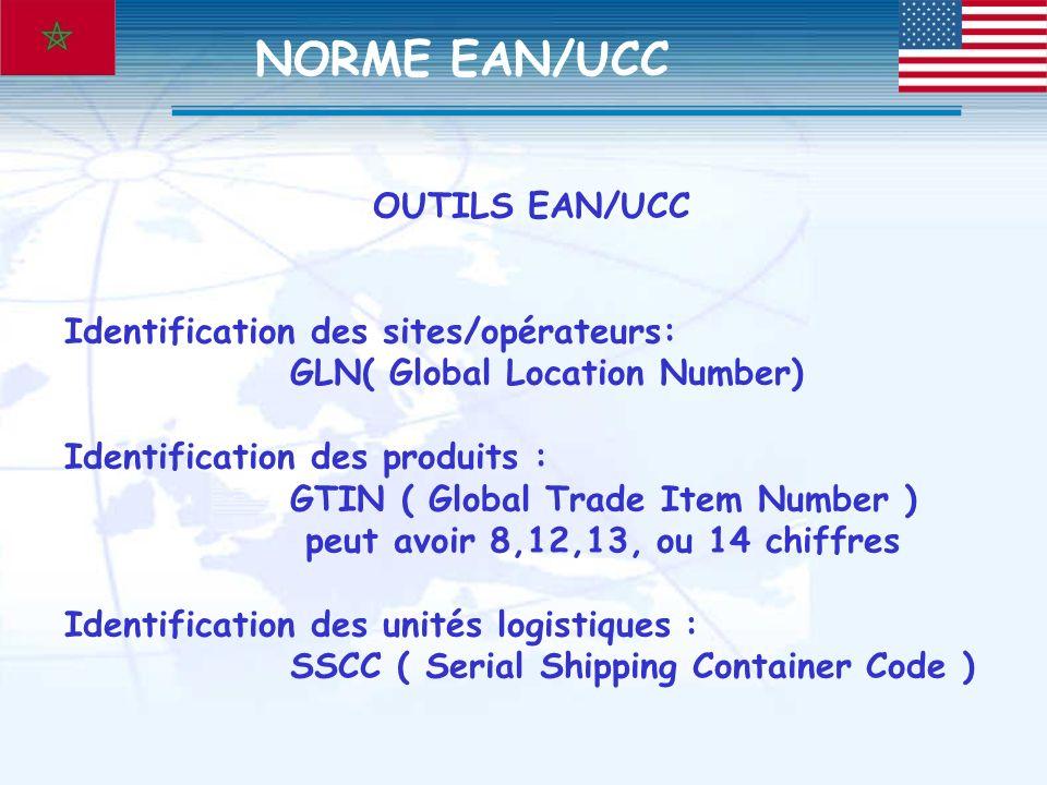 OUTILS EAN/UCC Identification des sites/opérateurs: GLN( Global Location Number) Identification des produits : GTIN ( Global Trade Item Number ) peut