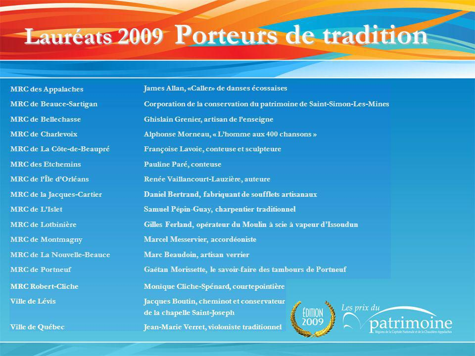 Lauréats 2009 Porteurs de tradition MRC des Appalaches James Allan, «Caller» de danses écossaises MRC de Beauce-SartiganCorporation de la conservation