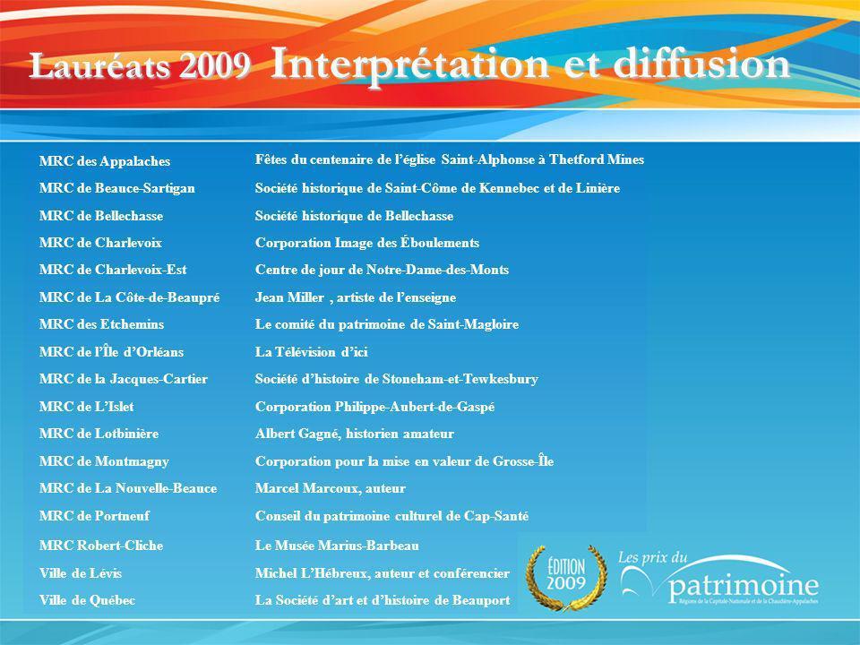 Lauréats 2009 Interprétation et diffusion MRC des Appalaches Fêtes du centenaire de léglise Saint-Alphonse à Thetford Mines MRC de Beauce-SartiganSoci