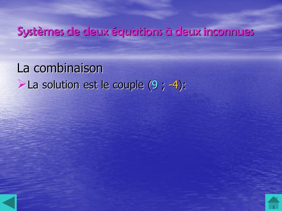 Systèmes de deux équations à deux inconnues La combinaison La solution est le couple (9 ; -4): La solution est le couple (9 ; -4):