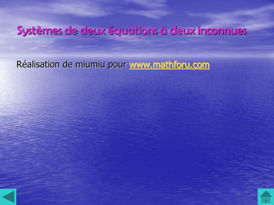 Systèmes de deux équations à deux inconnues Réalisation de miumiu pour www.mathforu.com www.mathforu.com