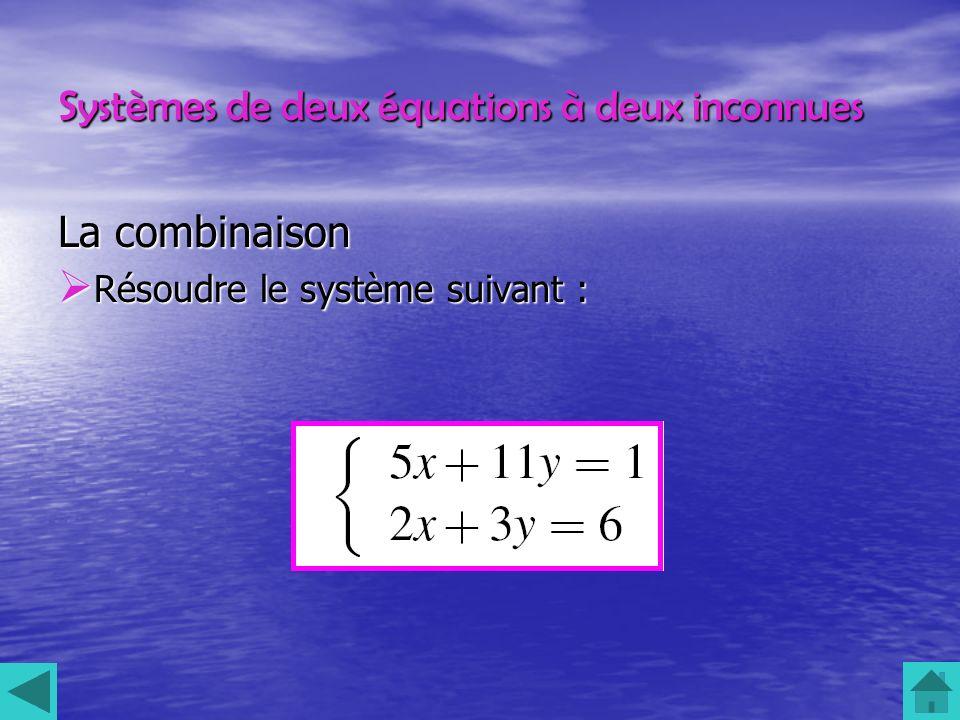 Systèmes de deux équations à deux inconnues La combinaison Résoudre le système suivant : Résoudre le système suivant :