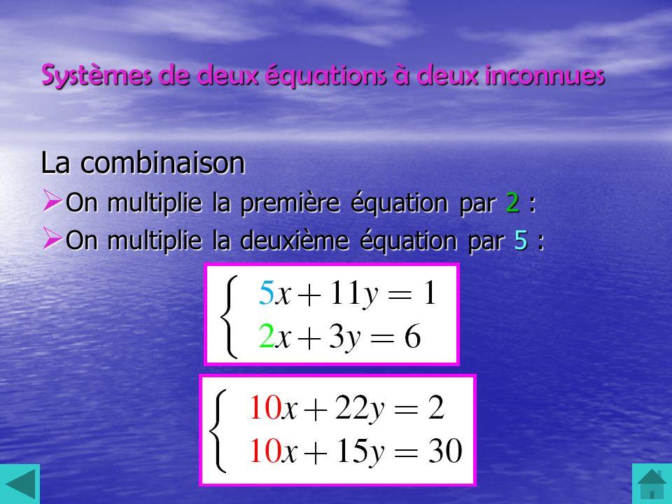 Systèmes de deux équations à deux inconnues La combinaison On multiplie la première équation par 2 : On multiplie la première équation par 2 : On mult