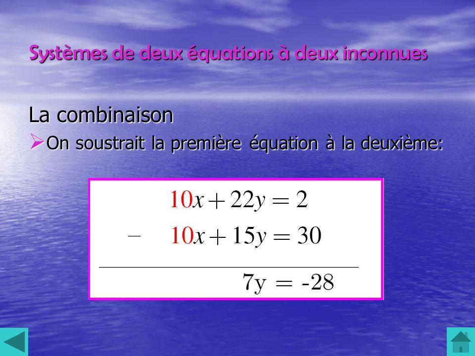 Systèmes de deux équations à deux inconnues La combinaison On soustrait la première équation à la deuxième: On soustrait la première équation à la deu