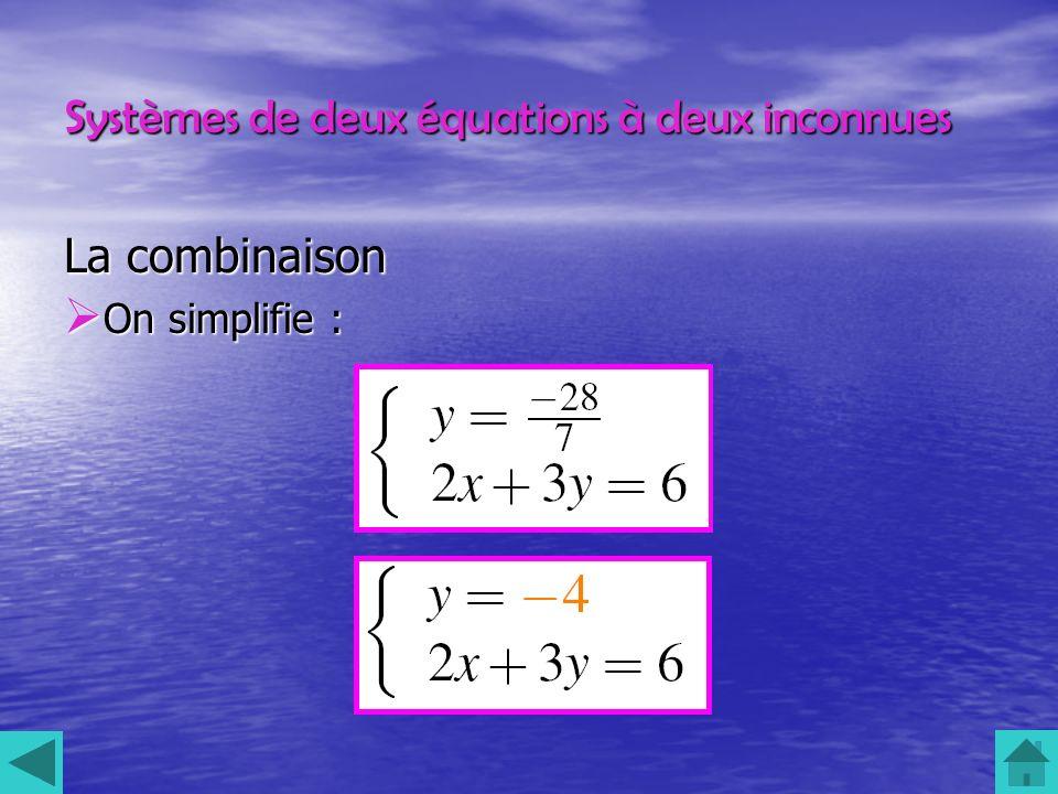 Systèmes de deux équations à deux inconnues La combinaison On simplifie : On simplifie :