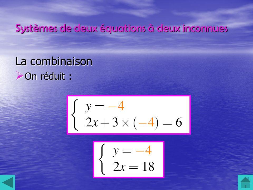 Systèmes de deux équations à deux inconnues La combinaison On réduit : On réduit :