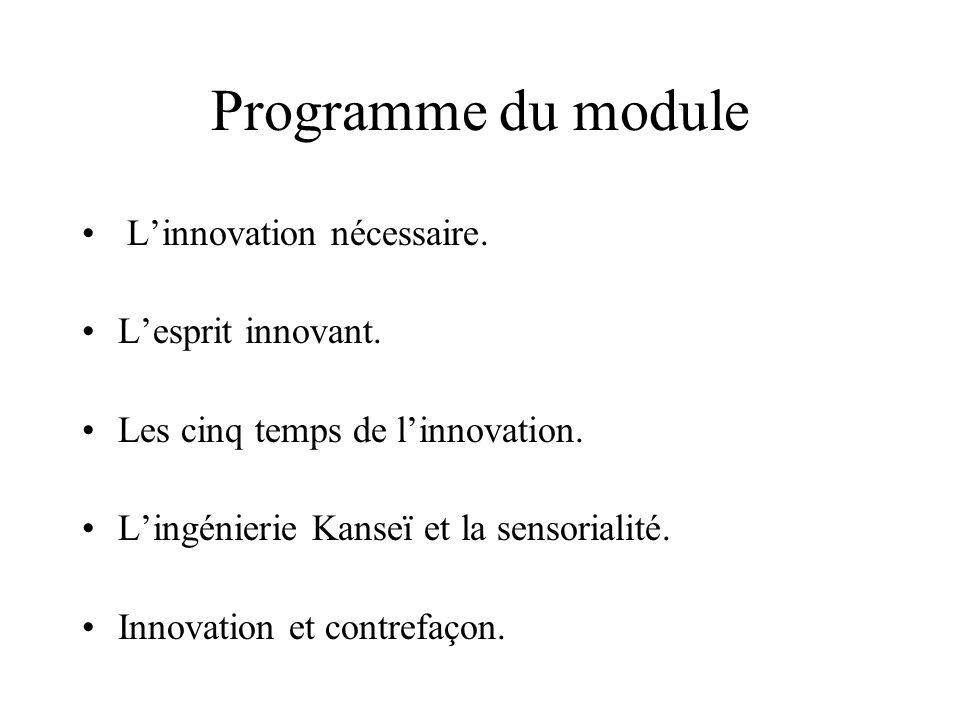 Programme du module Linnovation nécessaire. Lesprit innovant. Les cinq temps de linnovation. Lingénierie Kanseï et la sensorialité. Innovation et cont