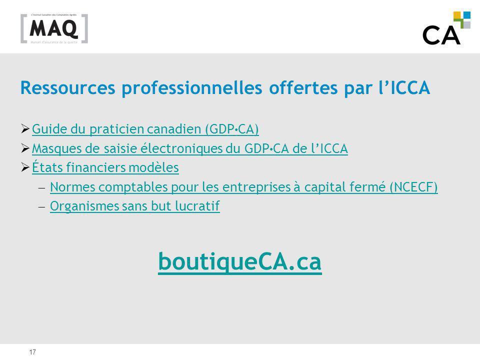 17 Ressources professionnelles offertes par lICCA Guide du praticien canadien (GDP CA) Guide du praticien canadien (GDP CA) Masques de saisie électron