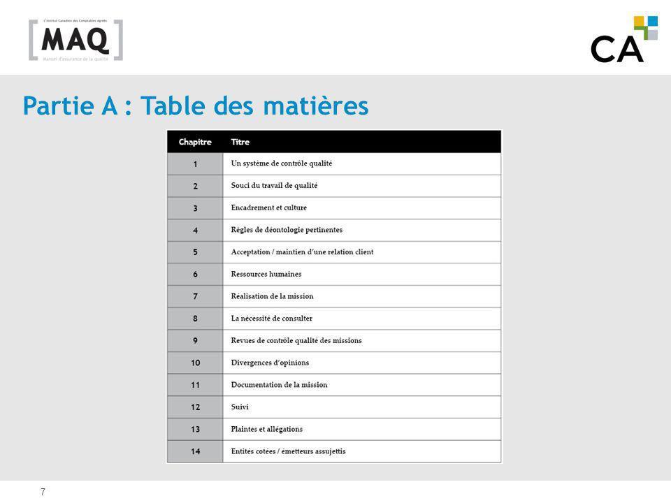 7 Partie A : Table des matières