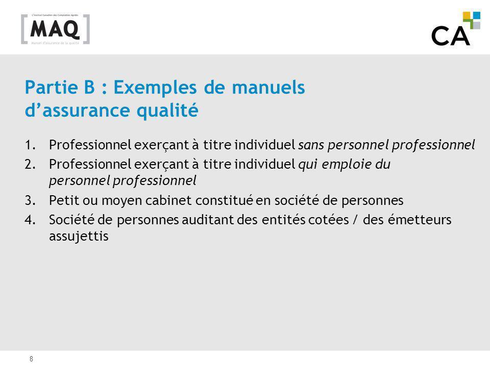 8 Partie B : Exemples de manuels dassurance qualité 1.Professionnel exerçant à titre individuel sans personnel professionnel 2.Professionnel exerçant
