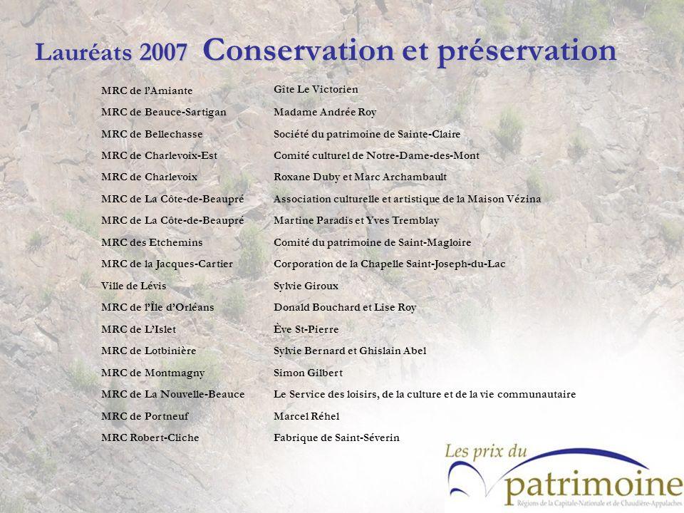 Lauréats 2007 Conservation et préservation MRC de lAmiante Gîte Le Victorien MRC de Beauce-SartiganMadame Andrée Roy MRC de BellechasseSociété du patr