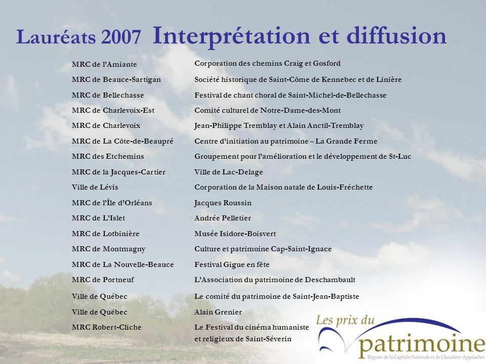 Lauréats 2007 Interprétation et diffusion MRC de lAmiante Corporation des chemins Craig et Gosford MRC de Beauce-SartiganSociété historique de Saint-C