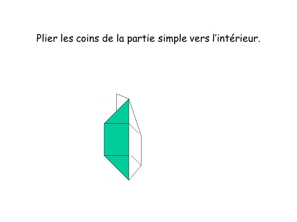 Plier les coins de la partie simple vers lintérieur.