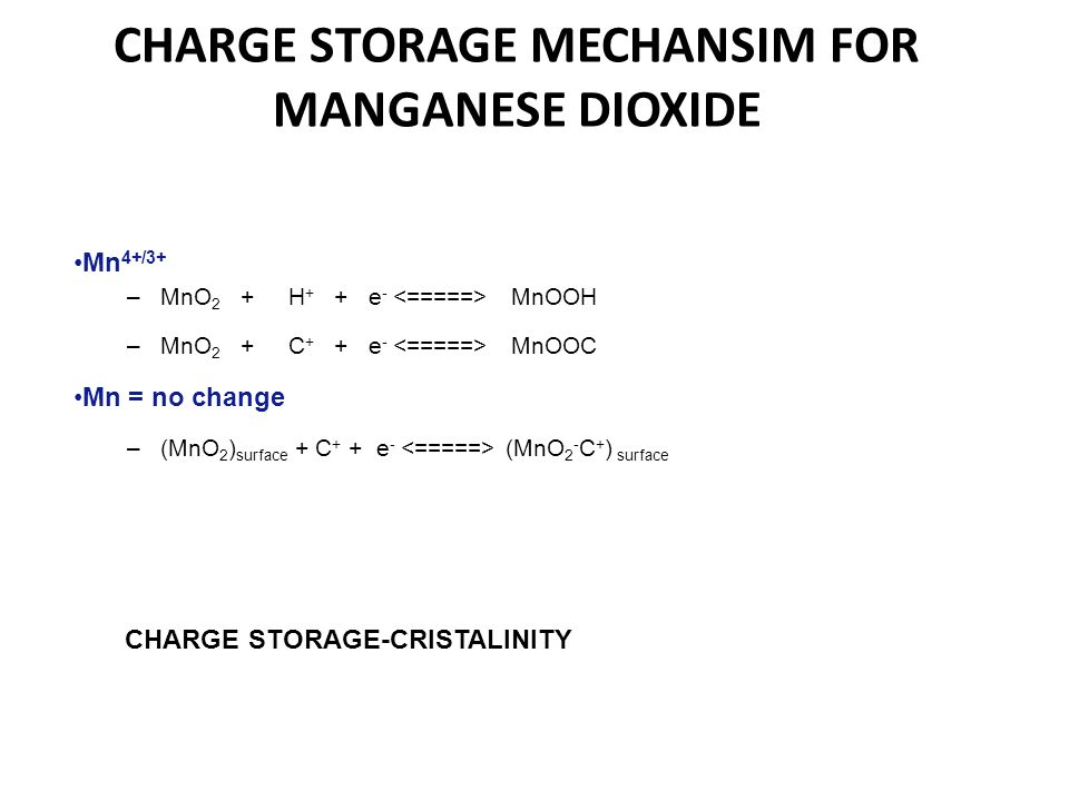 CHARGE STORAGE MECHANSIM FOR MANGANESE DIOXIDE Mn 4+/3+ –MnO 2 + H + + e - MnOOH –MnO 2 + C + + e - MnOOC Mn = no change –(MnO 2 ) surface + C + + e -