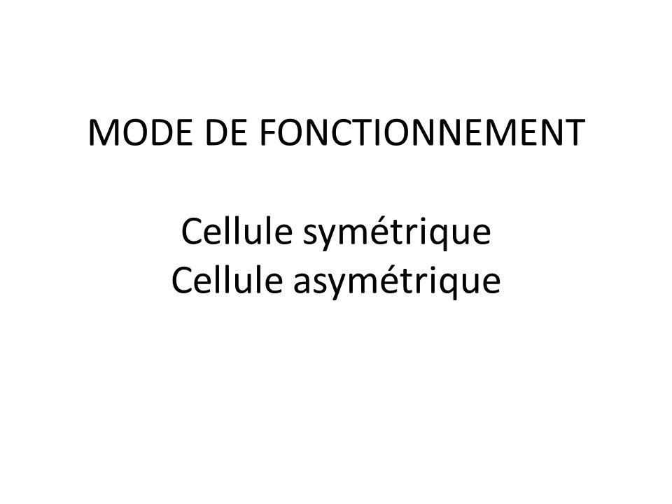 MODE DE FONCTIONNEMENT Cellule symétrique Cellule asymétrique