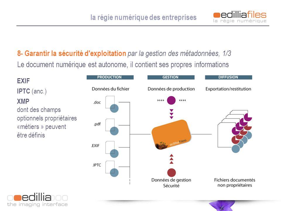 la régie numérique des entreprises 8- Garantir la sécurité d'exploitation par la gestion des métadonnées, 1/3 Le document numérique est autonome, il c