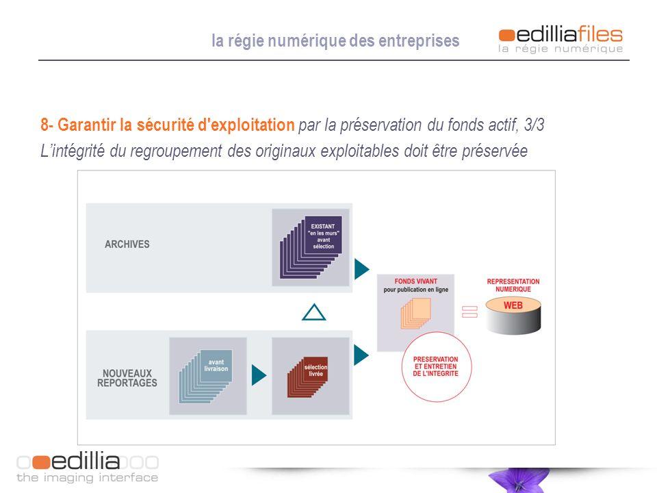 la régie numérique des entreprises 8- Garantir la sécurité d'exploitation par la préservation du fonds actif, 3/3 Lintégrité du regroupement des origi