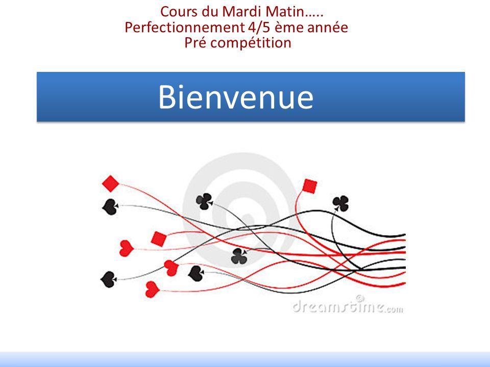 Bienvenue Cours du Mardi Matin….. Perfectionnement 4/5 ème année Pré compétition Bienvenue