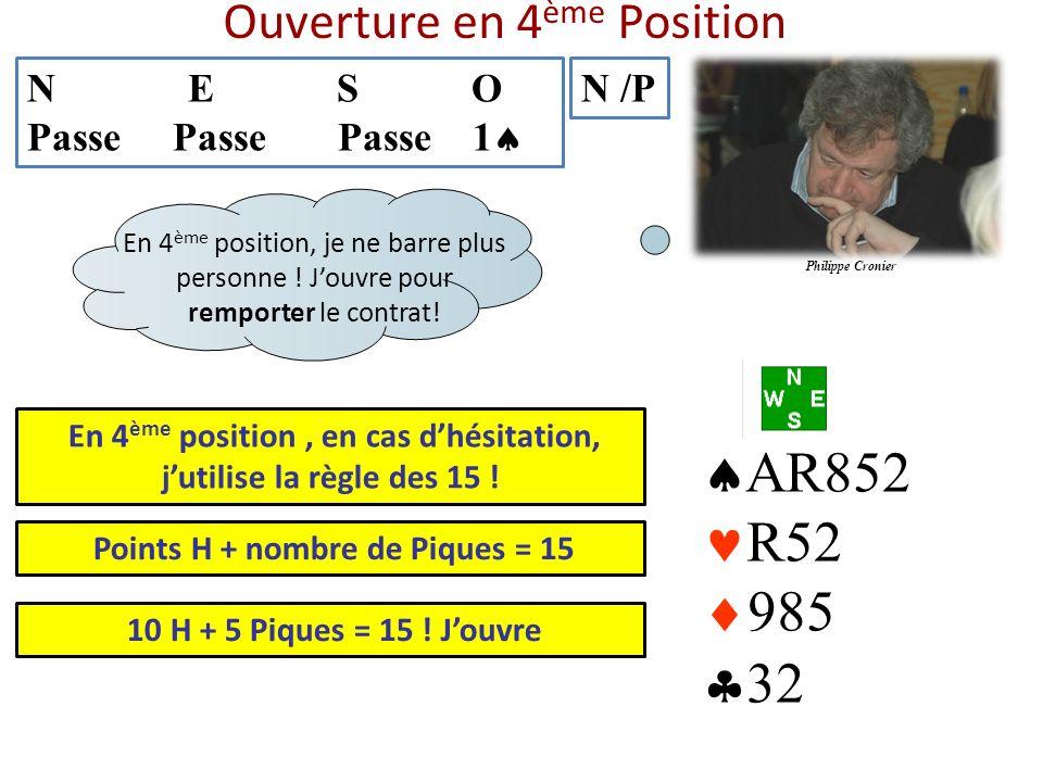 Ouverture en 4 ème Position N E S O Passe Passe Passe 1 N /P AR852 R52 985 32 En 4 ème position, en cas dhésitation, jutilise la règle des 15 ! En 4 è