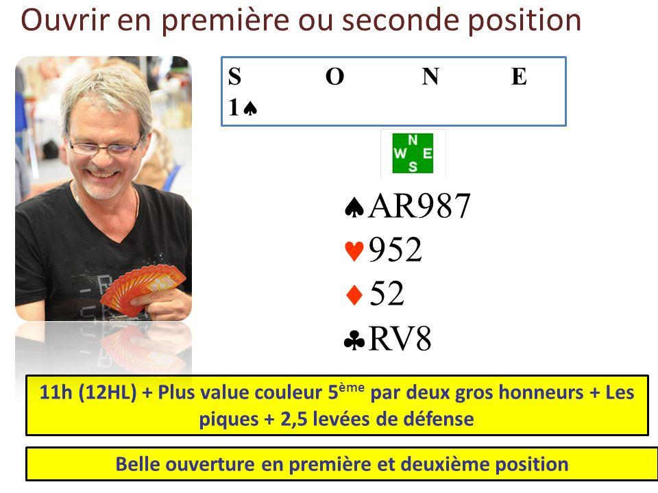 Ouvrir en première ou seconde position AR987 952 52 RV8 11h (12HL) + Plus value couleur 5 ème par deux gros honneurs + Les piques + 2,5 levées de défe