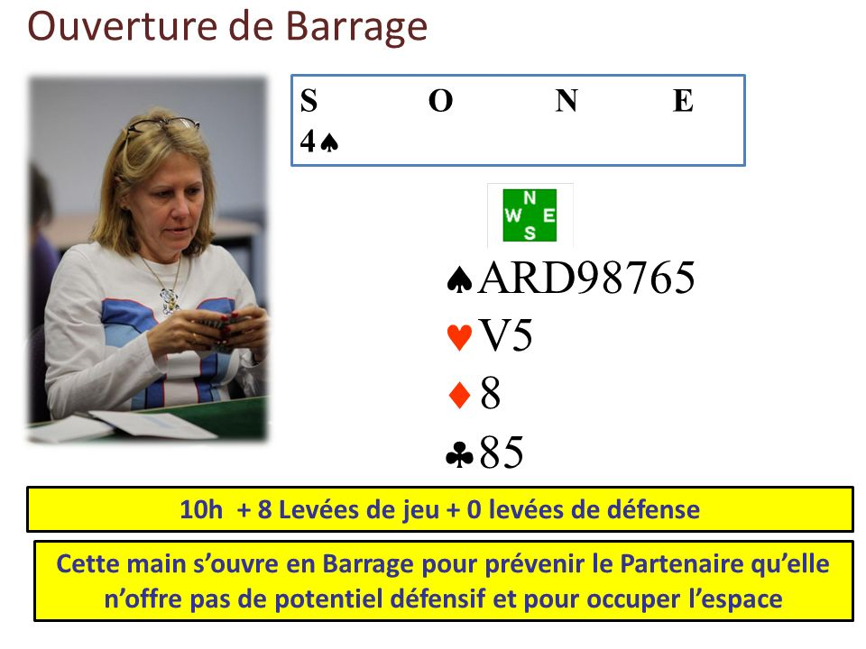 Ouverture de Barrage ARD98765 V5 8 85 10h + 8 Levées de jeu + 0 levées de défense Cette main souvre en Barrage pour prévenir le Partenaire quelle noff