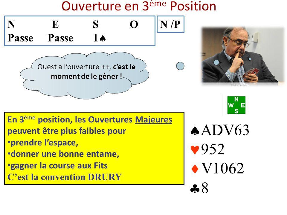 Ouverture en 3 ème Position N E S O Passe Passe 1 N /P ADV63 952 V1062 8 En 3 ème position, les Ouvertures Majeures peuvent être plus faibles pour pre