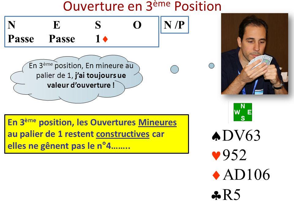 Ouverture en 3 ème Position N E S O Passe Passe 1 N /P DV63 952 AD106 R5 En 3 ème position, les Ouvertures Mineures au palier de 1 restent constructiv