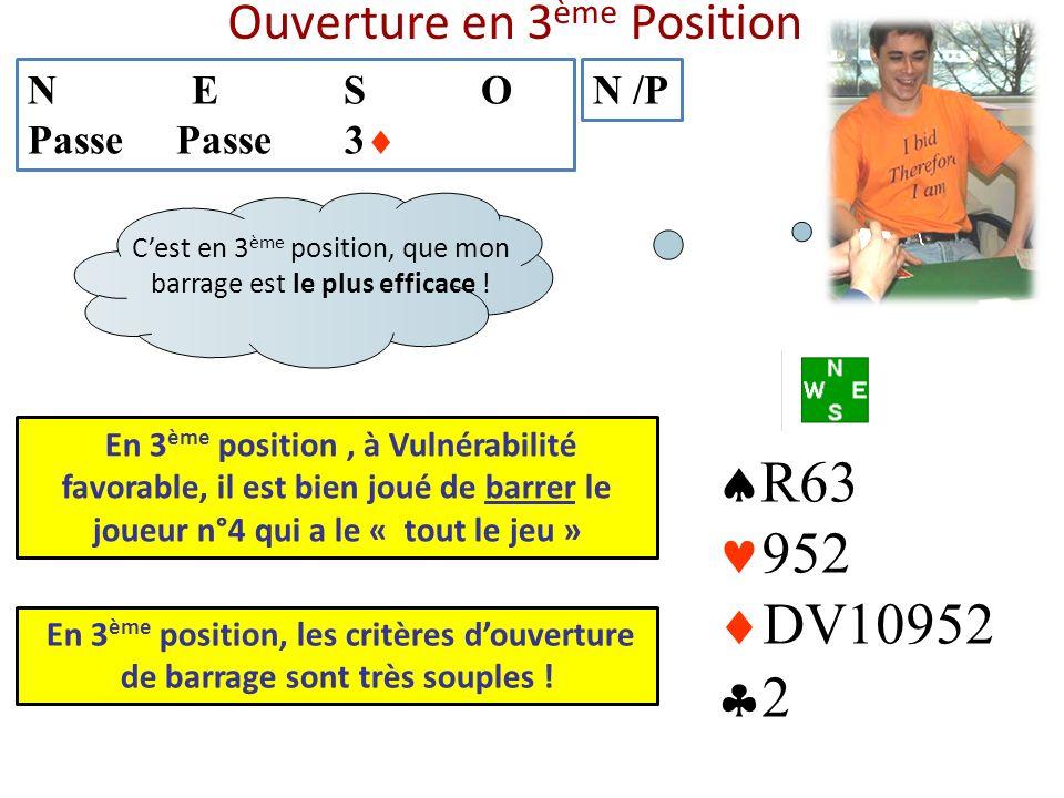 Ouverture en 3 ème Position N E S O Passe Passe 3 N /P R63 952 DV10952 2 En 3 ème position, à Vulnérabilité favorable, il est bien joué de barrer le j