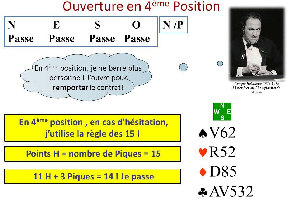 Ouverture en 4 ème Position N E S O Passe Passe Passe Passe N /P V62 R52 D85 AV532 En 4 ème position, en cas dhésitation, jutilise la règle des 15 ! E