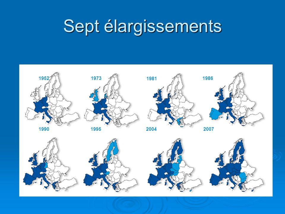 Sept élargissements 19521973 1981 1986 1990199520042007
