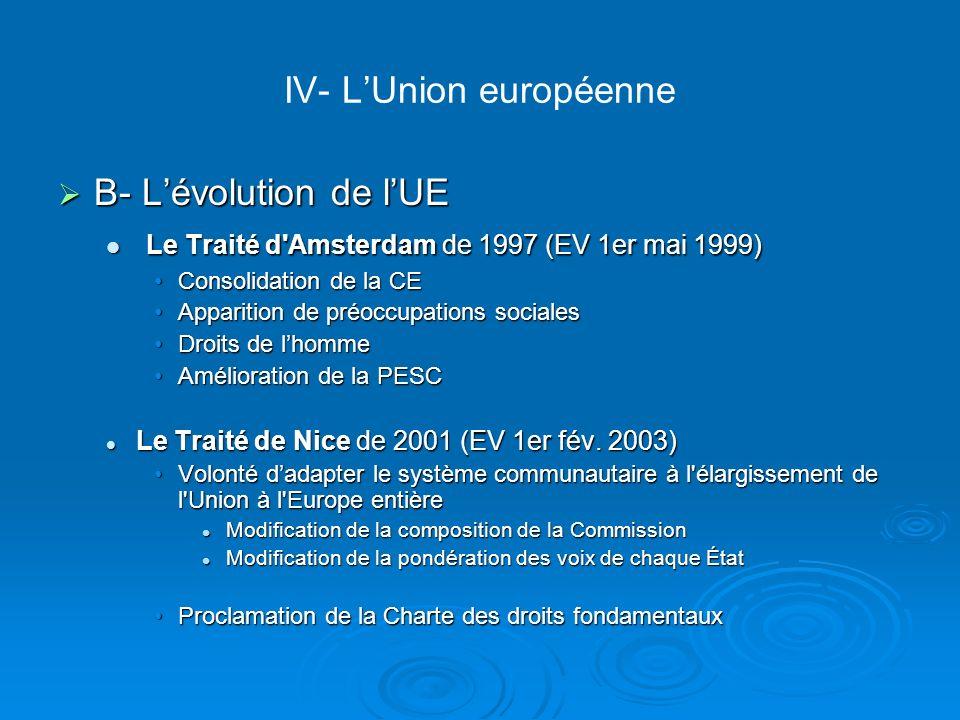 IV- LUnion européenne B- Lévolution de lUE B- Lévolution de lUE Le Traité d'Amsterdam de 1997 (EV 1er mai 1999) Le Traité d'Amsterdam de 1997 (EV 1er