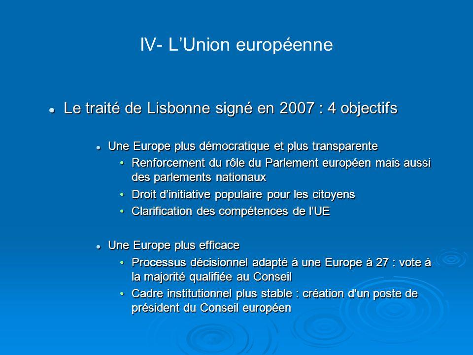 IV- LUnion européenne Le traité de Lisbonne signé en 2007 : 4 objectifs Le traité de Lisbonne signé en 2007 : 4 objectifs Une Europe plus démocratique