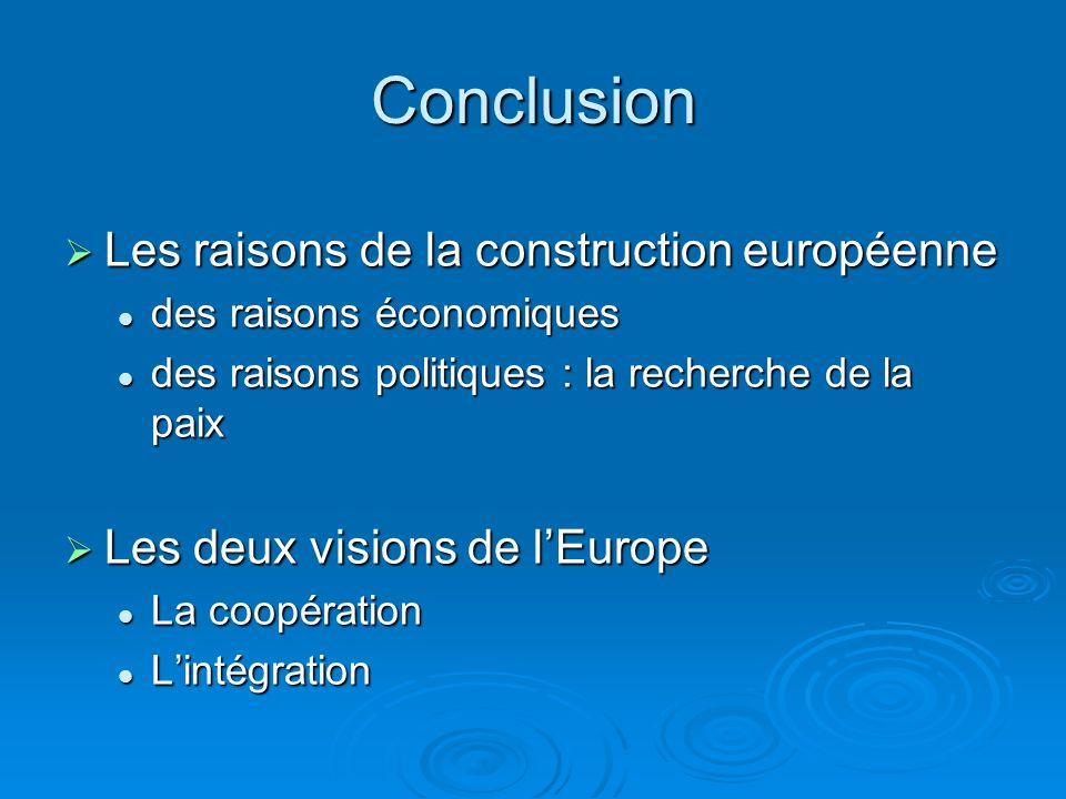 Conclusion Les raisons de la construction européenne Les raisons de la construction européenne des raisons économiques des raisons économiques des rai