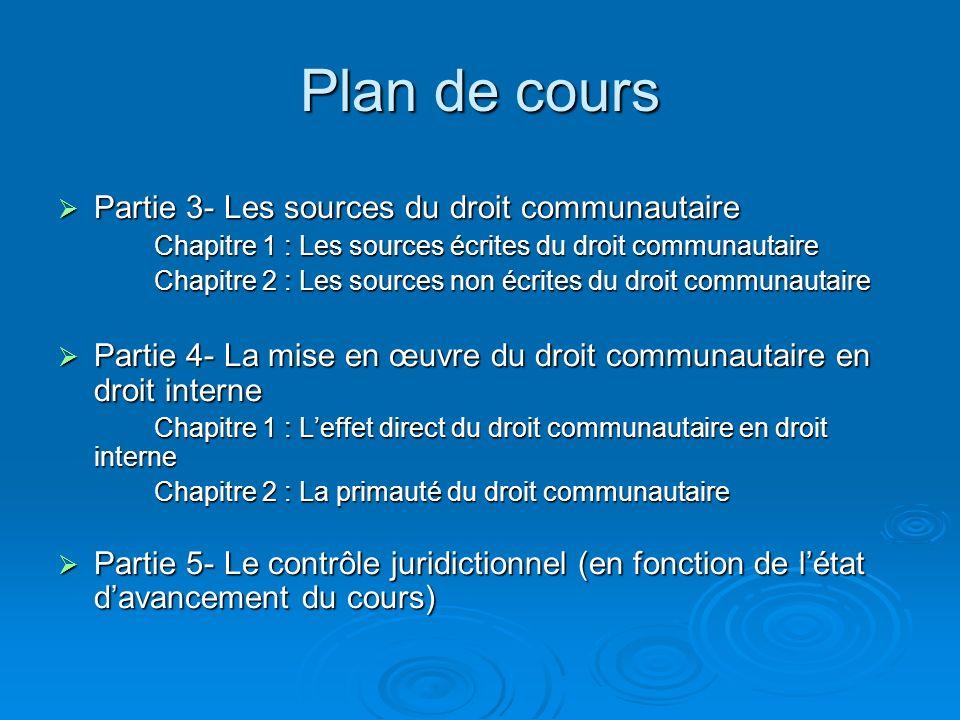 Plan de cours Partie 3- Les sources du droit communautaire Partie 3- Les sources du droit communautaire Chapitre 1 : Les sources écrites du droit comm