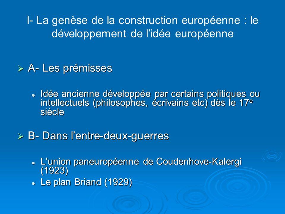 I- La genèse de la construction européenne : le développement de lidée européenne C- Après 2 nde GM C- Après 2 nde GM Nécessité de « faire lEurope » : redressement économique et paix Nécessité de « faire lEurope » : redressement économique et paix Discours de Churchill en 1946 : la réalisation des « Etats- Unis dEurope »Discours de Churchill en 1946 : la réalisation des « Etats- Unis dEurope » Congrès de La Haye en 1948 (dit Congrès de lEurope)Congrès de La Haye en 1948 (dit Congrès de lEurope) Deux tendances Deux tendances Les unionistes : coopération mais pas de limitation de souveraineté (britanniques).Les unionistes : coopération mais pas de limitation de souveraineté (britanniques).