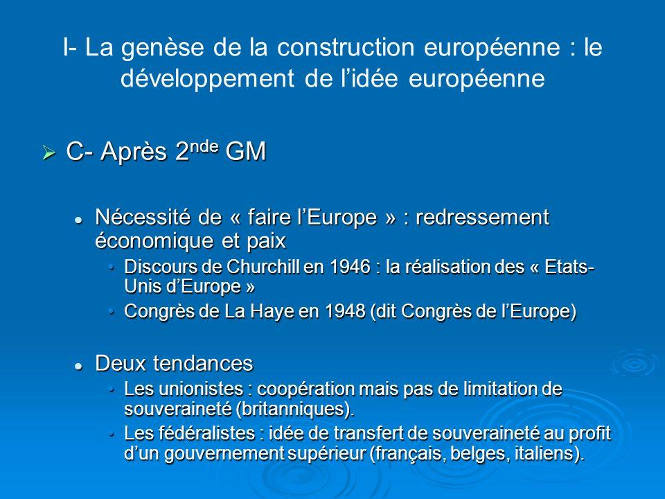 I- La genèse de la construction européenne : le développement de lidée européenne C- Après 2 nde GM C- Après 2 nde GM Nécessité de « faire lEurope » :