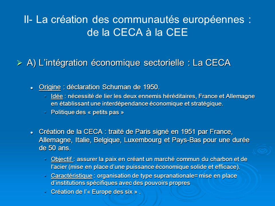 II- La création des communautés européennes : de la CECA à la CEE B) Léchec de lintégration politique : la CED B) Léchec de lintégration politique : la CED Contexte : Contexte : succès économique de la CECA= volonté de développer lintégrationsuccès économique de la CECA= volonté de développer lintégration Vulnérabilité de lEurope en matière de défenseVulnérabilité de lEurope en matière de défense Signature du traité de Paris créant la Communauté Européenne de Défense en 1952 Signature du traité de Paris créant la Communauté Européenne de Défense en 1952 Objectif : mettre sur pied une armée européenneObjectif : mettre sur pied une armée européenne Rejet du texte par la France en 1954 : opposition du général De Gaulle= fin de la CED.