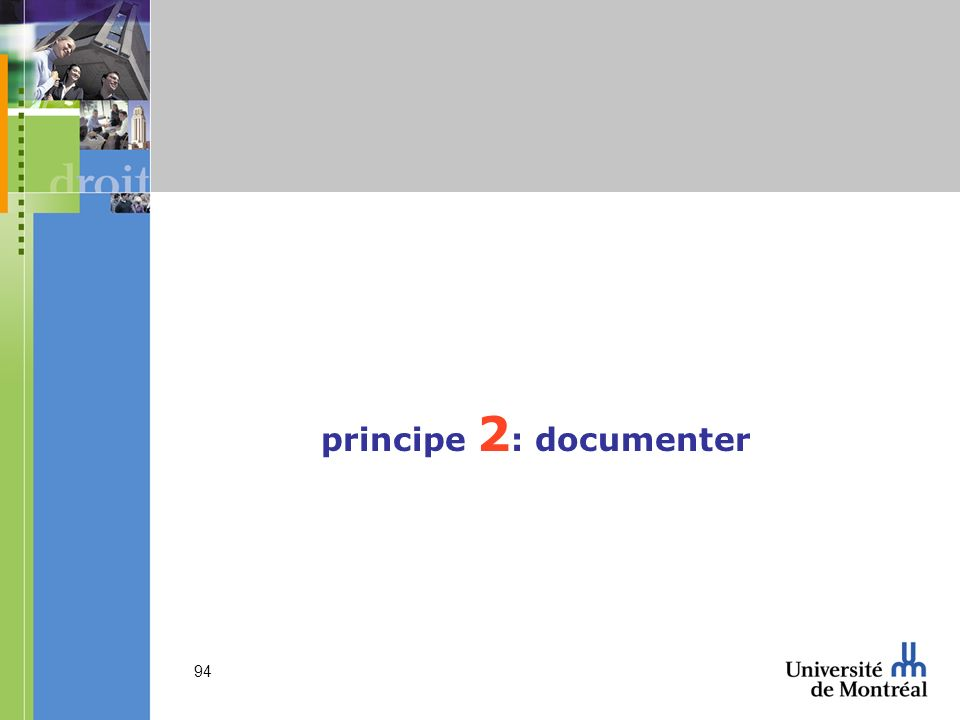 94 principe 2 : documenter